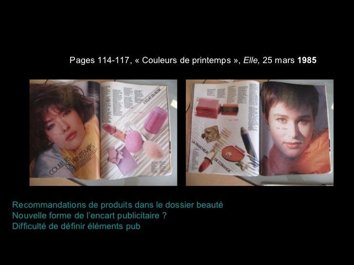 Pages 114-117, «Couleurs de printemps»,  Elle,  25 mars  1985 Recommandations de produits dans le dossier beauté Nouvell...