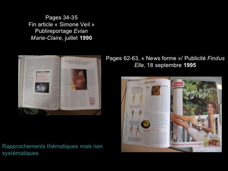 Pages 62-63, «News forme»/ Publicité  Findus Elle , 18 septembre  1995 Pages 34-35 Fin article «Simone Veil» Publirepo...