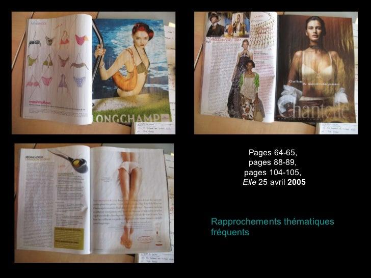 Pages 64-65,  pages 88-89,  pages 104-105,  Elle  25 avril  2005 Rapprochements thématiques fréquents