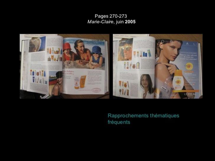 Pages 270-273  Marie-Claire , juin  2005 Rapprochements thématiques fréquents
