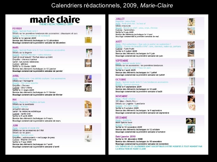 Calendriers rédactionnels, 2009,  Marie-Claire
