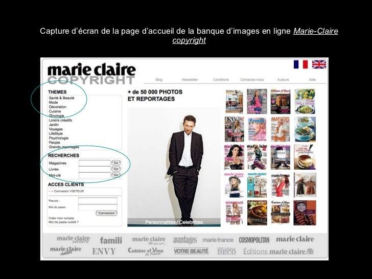 Capture d'écran de la page d'accueil de la banque d'images en ligne  Marie-Claire copyright