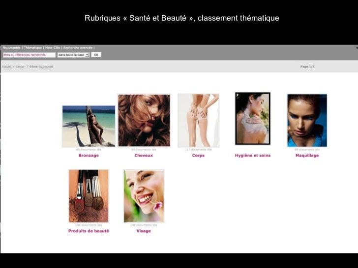 Rubriques «Santé et Beauté», classement thématique