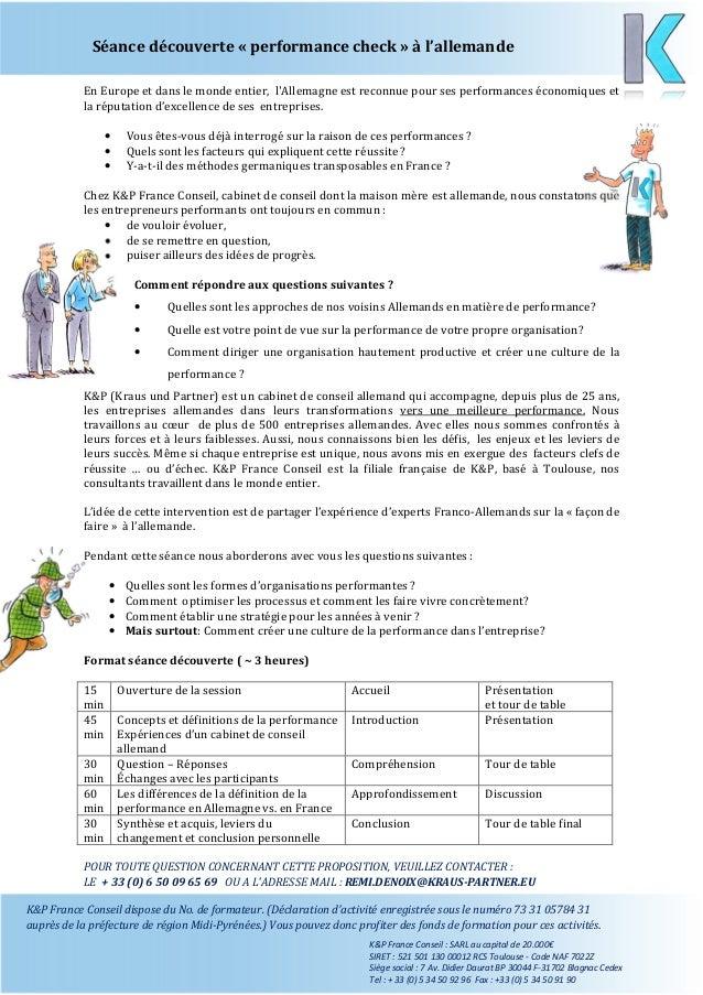 Séance découverte « performance check » à l'allemande K&P France Conseil dispose du No. de formateur. (Déclaration d'activ...