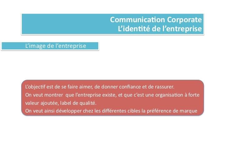 Communica%on Corporate                                                               L'iden%té de l'entreprise L...