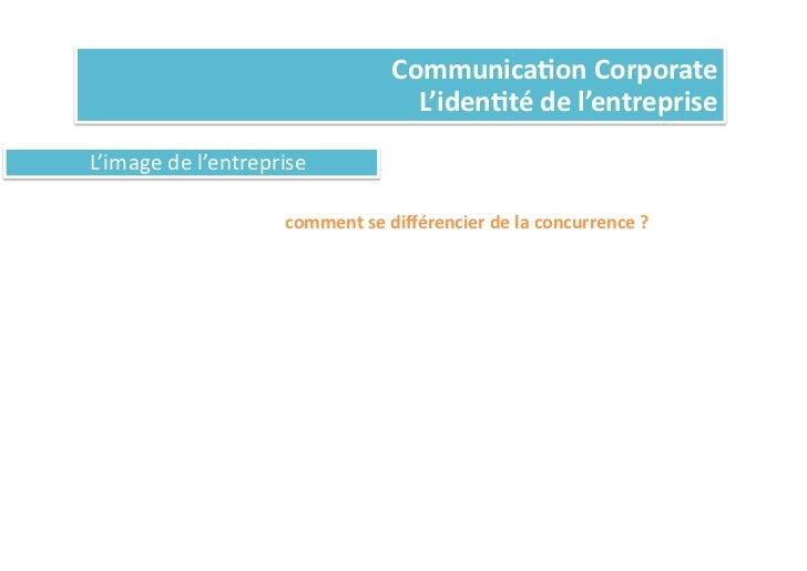 Communica%on Corporate                                                          L'iden%té de l'entreprise L'imag...