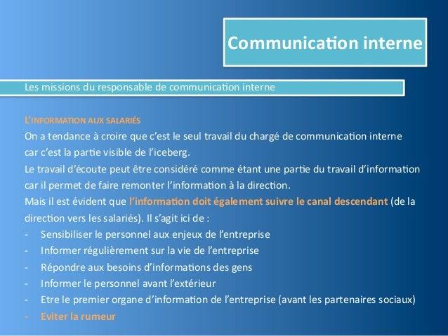 Communica,on interneLes missions du responsable de communica@on interneL'INFORMATION AUX SALARIÉSOn a...