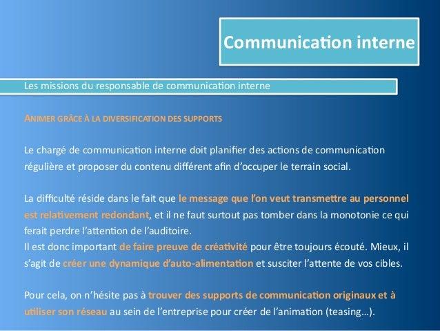 Communica,on interneLes missions du responsable de communica@on interneANIMER GRÂCE À LA DIVERSIFICA...