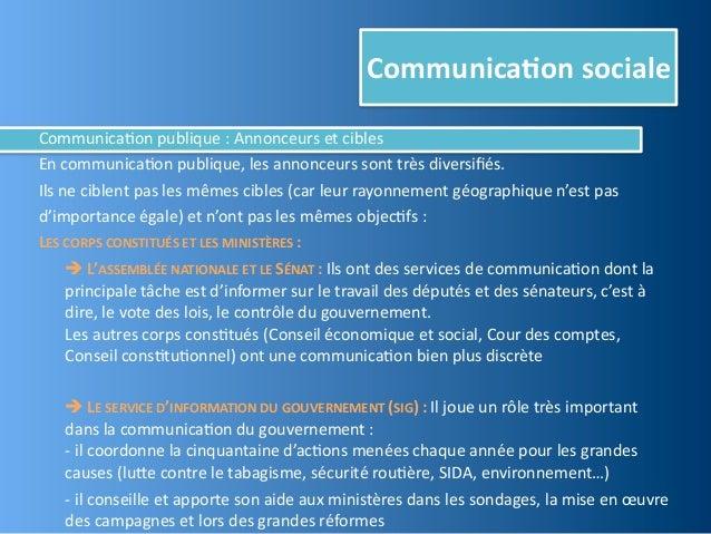 Communica,on socialeCommunica@on publique : Annonceurs et ciblesEn communica@on publique, les annonceu...