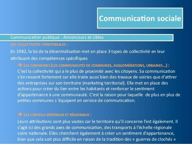 Communica,on socialeCommunica@on publique : Annonceurs et ciblesLES COLLECTIVITÉS TERRITORIALES :En 19...