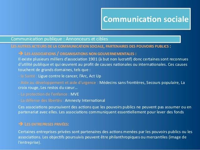 Communica,on socialeCommunica@on publique : Annonceurs et ciblesLES AUTRES ACTEURS DE LA COMMUNICATI...