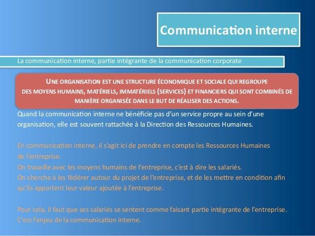 Communica,on interneLa communica@on interne, par@e intégrante de la communica@on corporate            UN...