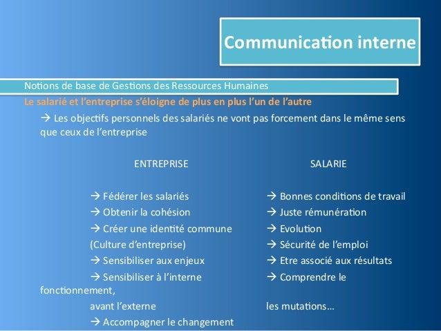 Communica,on interneNo@ons de base de Ges@ons des Ressources HumainesLe salarié et l'entreprise s'...