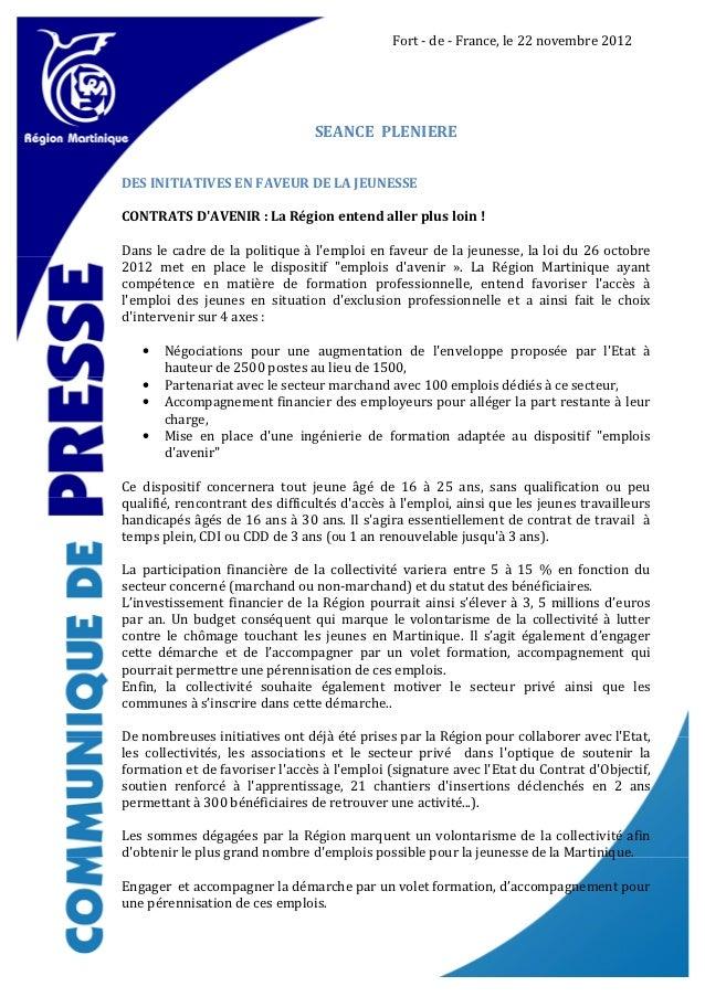 Fort - de - France, le 22 novembre 2012                                 SEANCE PLENIEREDES INITIATIVES EN FAVEUR DE LA JEU...