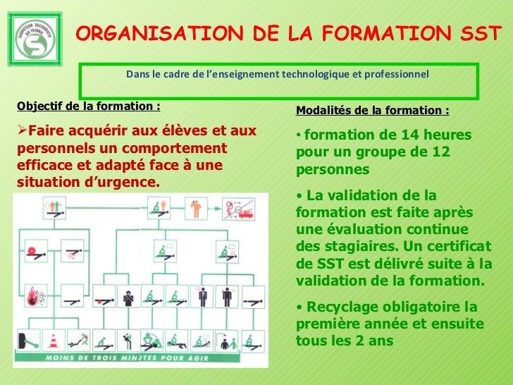 ORGANISATION DE LA FORMATION SST <ul><li>Dans le cadre de l'enseignement technologique et professionnel   </li></ul><ul><l...