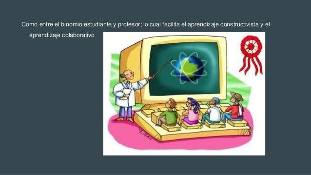 Como entre el binomio estudiante y profesor; lo cual facilita el aprendizaje constructivista y el aprendizaje colaborativo