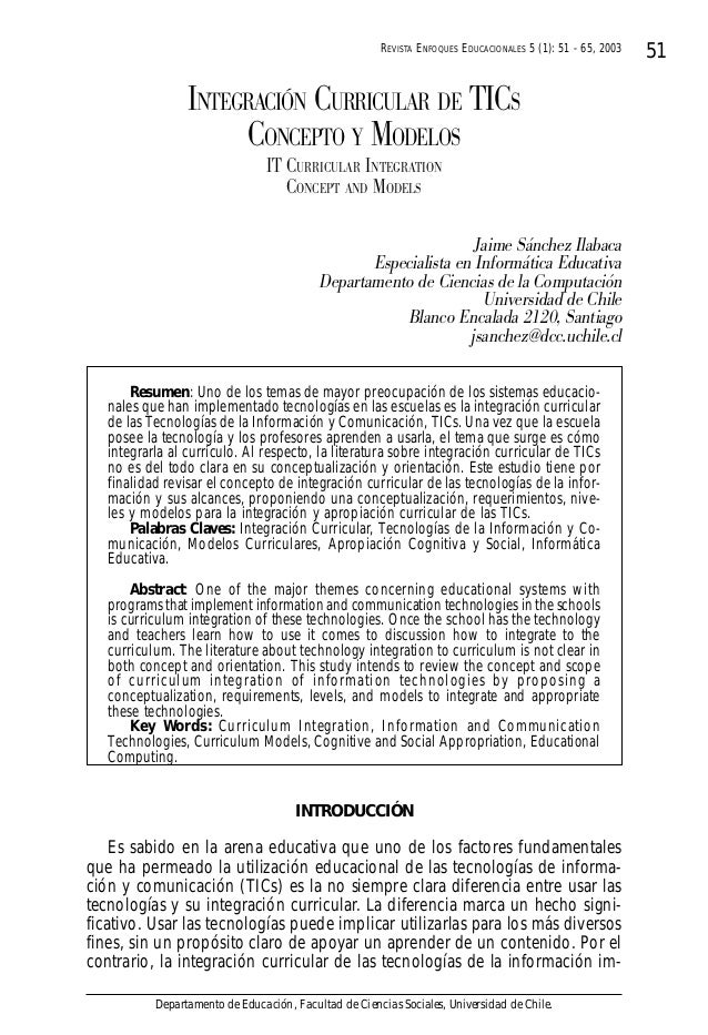 REVISTA ENFOQUES EDUCACIONALES 5 (1): 51 - 65, 2003 01 15,  INTEGRACIÓN CURRICULAR DE TICS CONCEPTO Y MODELOS IT CURRICULA...