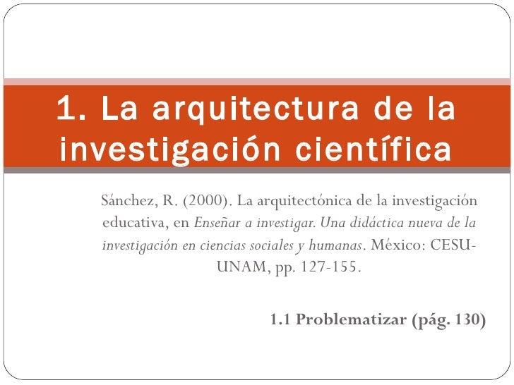 Sánchez, R. (2000). La arquitectónica de la investigación educativa, en  Enseñar a investigar. Una didáctica nueva de la i...