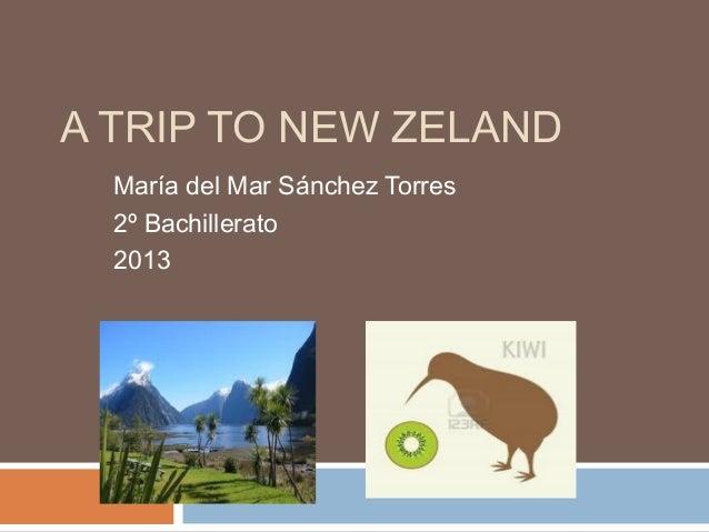 A TRIP TO NEW ZELAND María del Mar Sánchez Torres 2º Bachillerato 2013