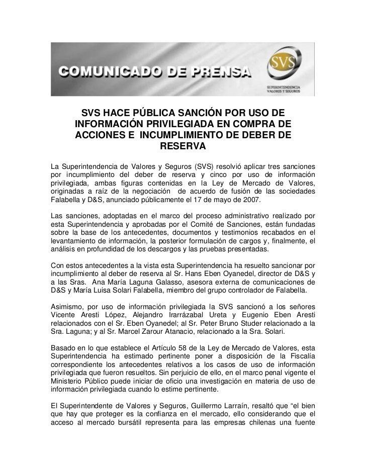 SVS HACE PÚBLICA SANCIÓN POR USO DE        INFORMACIÓN PRIVILEGIADA EN COMPRA DE        ACCIONES E INCUMPLIMIENTO DE DEBER...