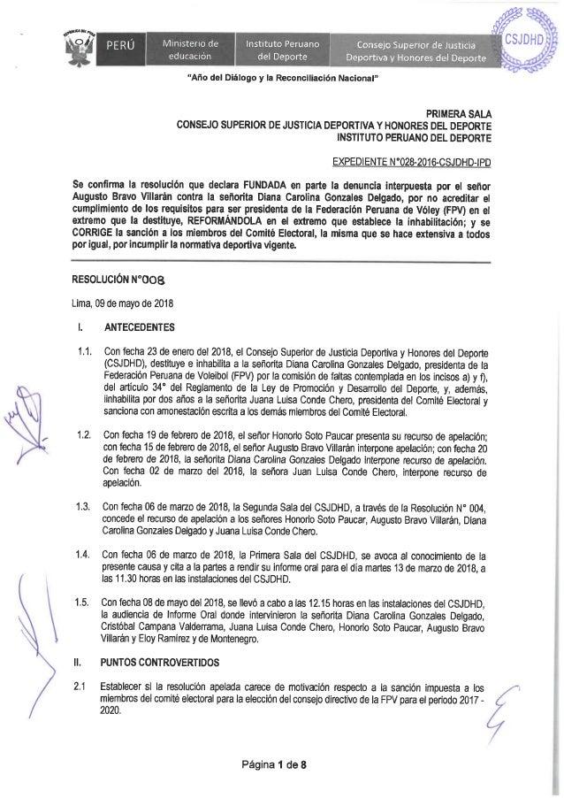 Resolución N°008 de la sala 1 CSJDHD confirma sanción a Diana Gonzales