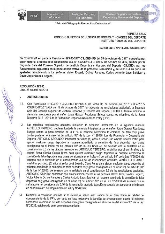 I SALA DEL CSJDHD RATIFICA SANCIÓN A EX PRESIDENTE FPV LUIS LINARES