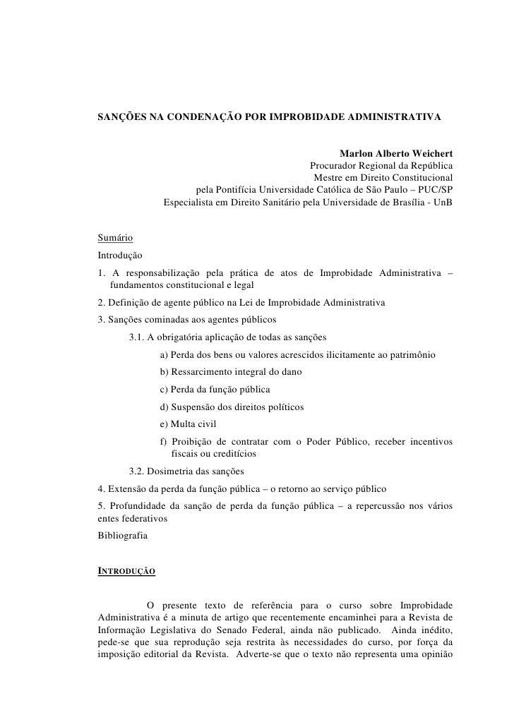 SANÇÕES NA CONDENAÇÃO POR IMPROBIDADE ADMINISTRATIVA                                                            Marlon Alb...