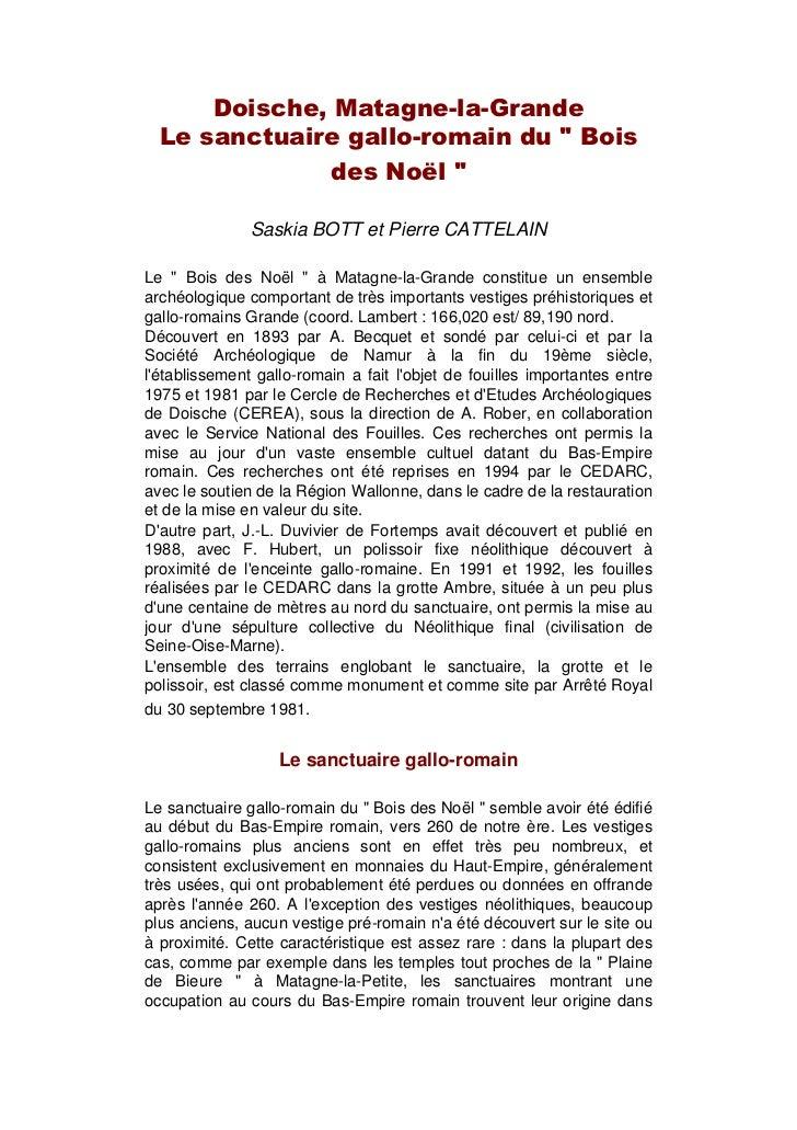 """Doische, Matagne-la-Grande  Le sanctuaire gallo-romain du """" Bois              des Noël """"               Saskia BOTT et Pier..."""