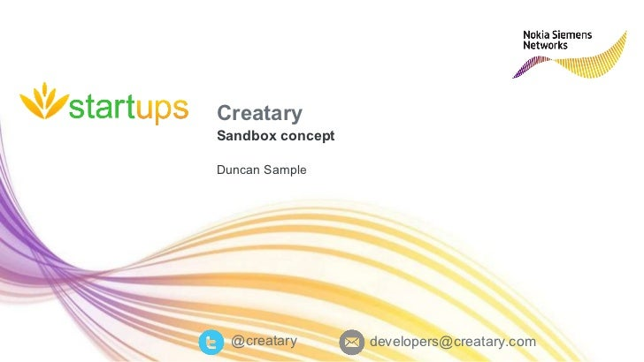 Creatary Sandbox concept Duncan Sample @creatary [email_address]