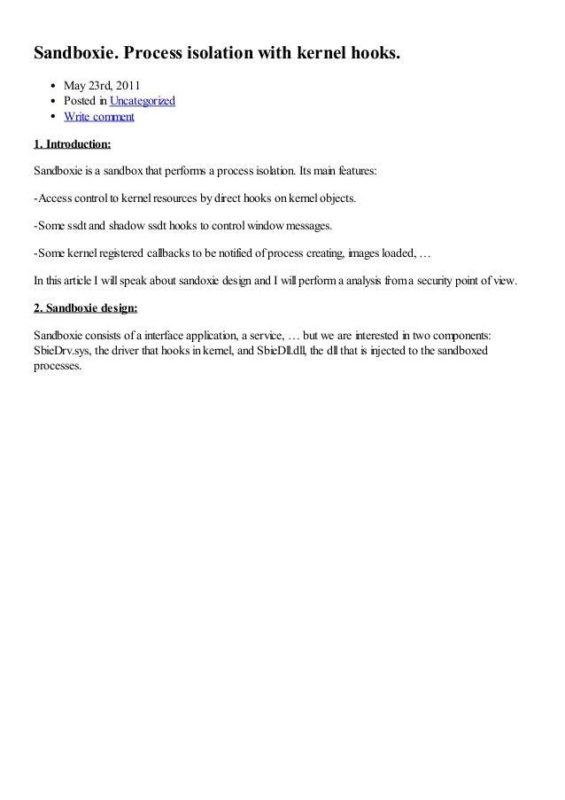 Sandboxie process isolation with kernel hooks