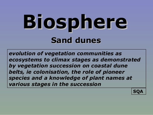 BiosphereBiosphere Sand dunesSand dunes evolution of vegetation communities as ecosystems to climax stages as demonstrated...