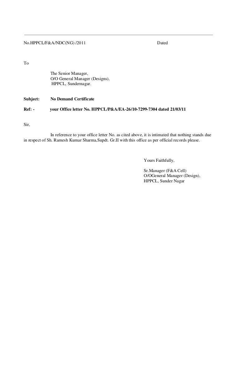 No.HPPCL/F&A/NDC(NG) /2011                                                    DatedTo               The Senior Manager,   ...