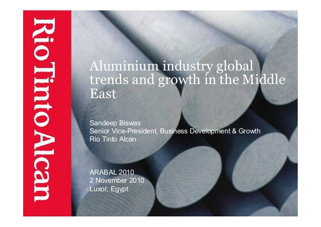 Aluminium industry global trends and growth in the Middle East Sandeep Biswas Senior Vice-President, Business Development ...