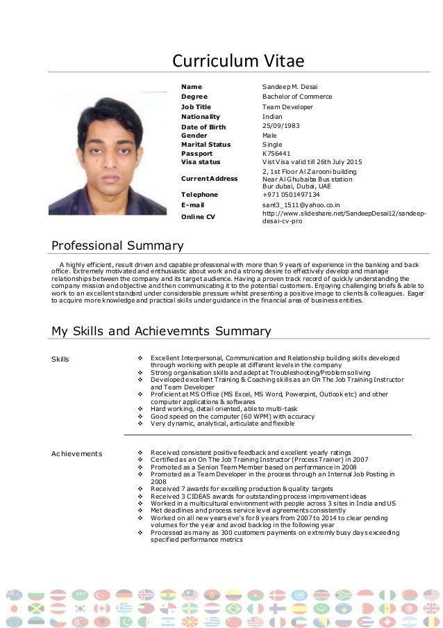 sandeep desai cv pro