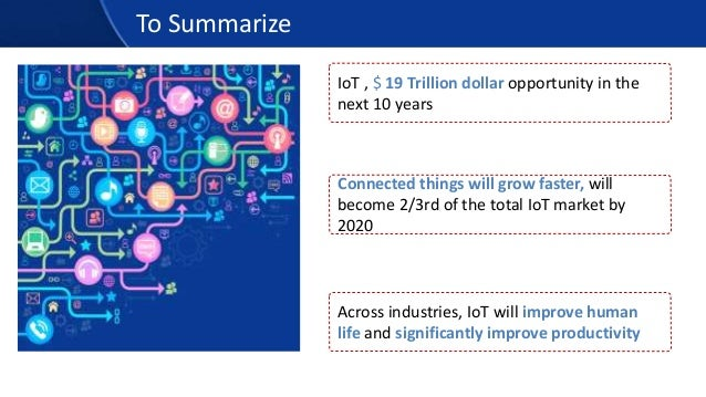 To Summarize Connected things will grow faster, will become 2/3rd of the total IoT market by 2020 IoT , $ 19 Trillion doll...