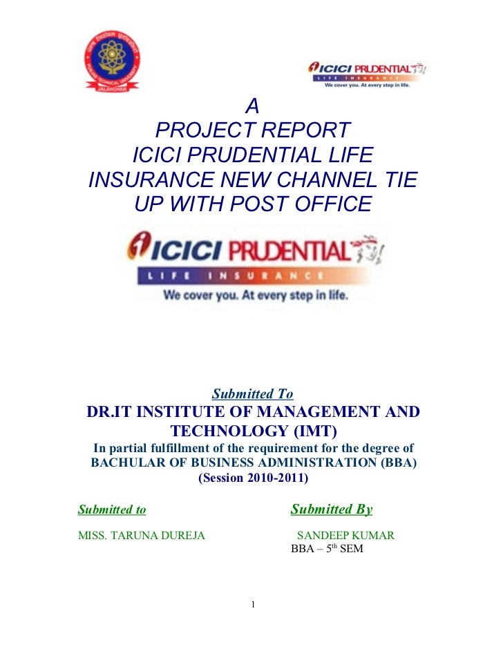 project report on the insurance companies