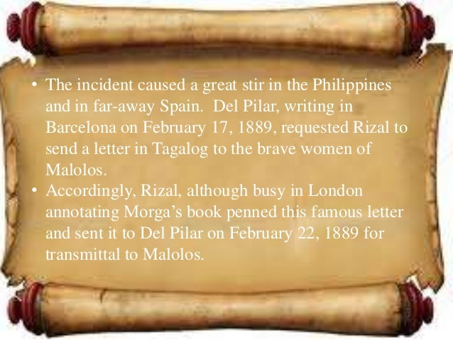 """to the young women of malolos summary The issues discussed in the famous letter of rizal entitled, """"to the young women  of malolos,"""" are the inequality between men and women, slavery done by the."""
