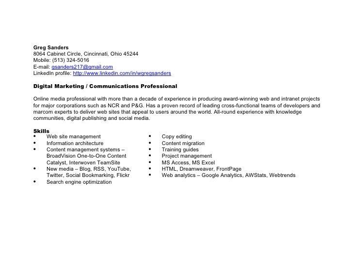 Keywords: SEO, CMS, HTML, LinkedIn, B2B, e-commerce, Web 2.0, interactive, multimedia, copy editing, corporate communicati...