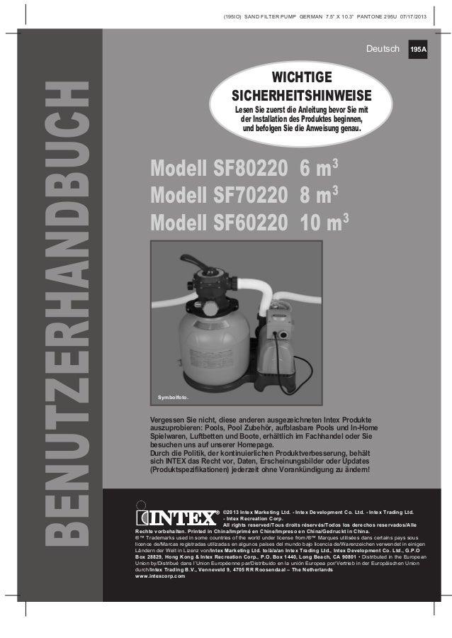 "195A (195IO) SAND FILTER PUMP GERMAN 7.5"" X 10.3"" PANTONE 295U 07/17/2013 Deutsch Modell SF80220 6 m3 Modell SF70220 8 m3 ..."