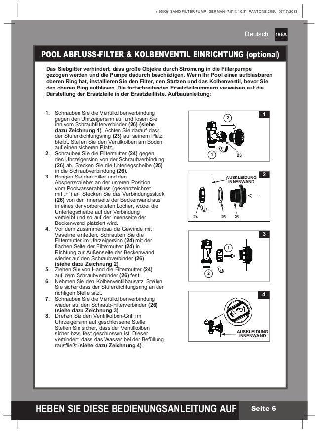Sandfilteranlage benutzerhandbuch Intex Pool Shop