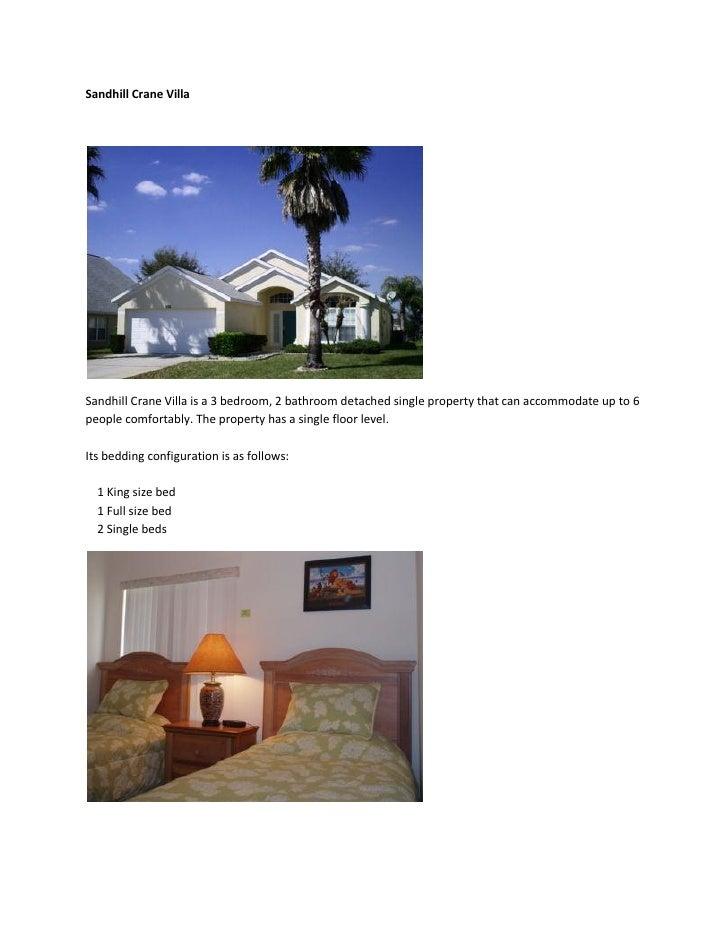 Sandhill Crane Villa     Sandhill Crane Villa is a 3 bedroom, 2 bathroom detached single property that can accommodate up ...