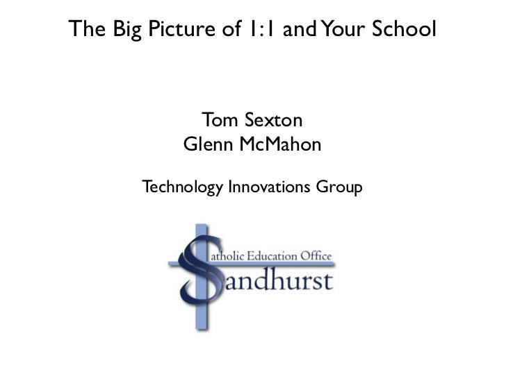 The Big Picture of 1:1 and Your School              Tom Sexton            Glenn McMahon       Technology Innovations Group