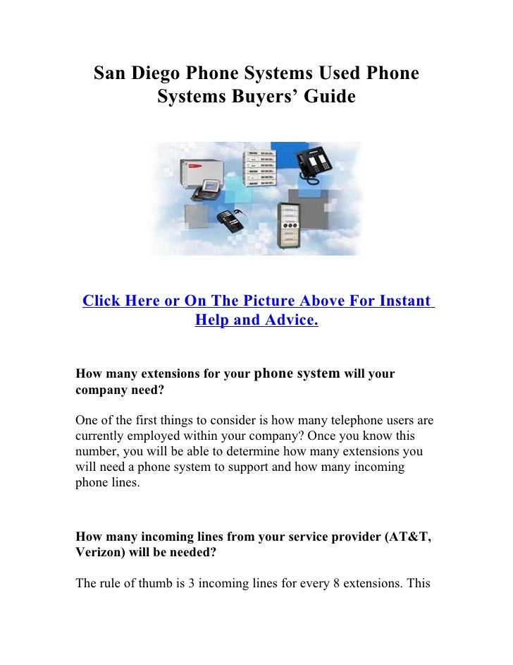 San Diego Phone Systems Used Phone           Systems Buyers' Guide      Click Here or On The Picture Above For Instant    ...