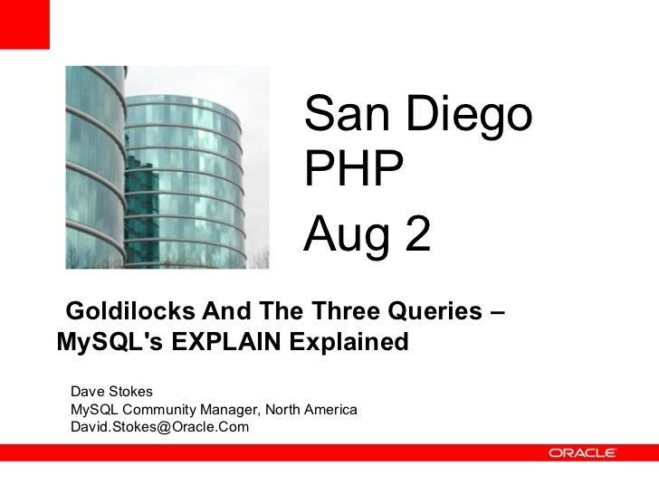 San Diego                               PHP                               Aug 2Goldilocks And The Three Queries –MySQLs EX...