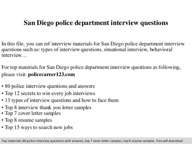 san diego police department interview questions