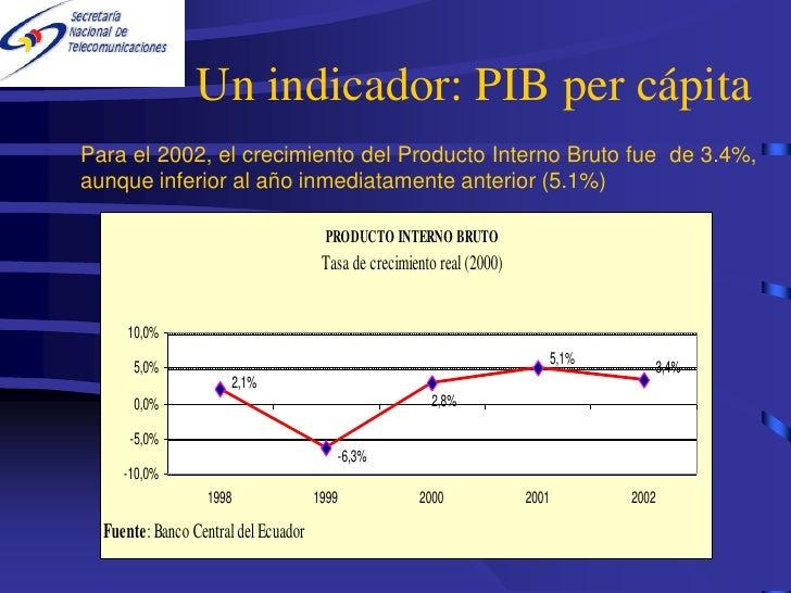 Un indicador: PIB per cápita Para el 2002, el crecimiento del Producto Interno Bruto fue de 3.4%, aunque inferior al año i...