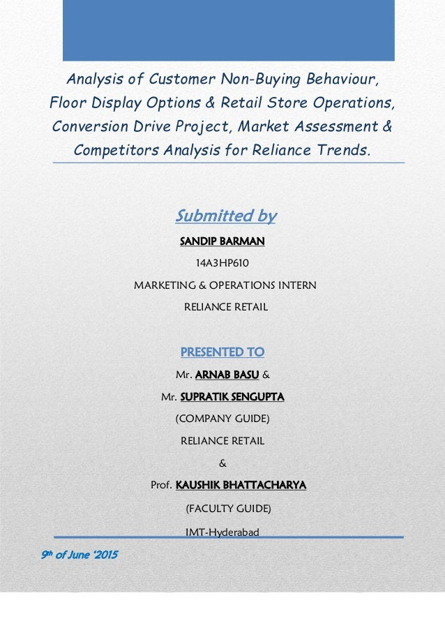 Analysis of Customer Non-Buying Behaviour, Floor Display Options & Retail Store Operations, Conversion Drive Project, Mark...