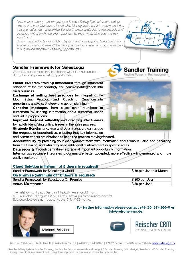 Reischer CRM Consultants GmbH | Lankwitzer Str. 19 | +49 (30) 374 900-0 | 12107 Berlin | info@ReischerCRM.de www.saleslogi...