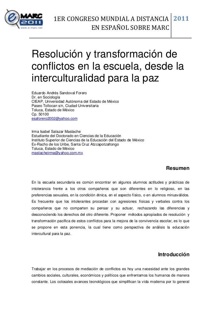 1ER CONGRESO MUNDIAL A DISTANCIA 2011                        EN ESPAÑOL SOBRE MARCResolución y transformación deconflictos...