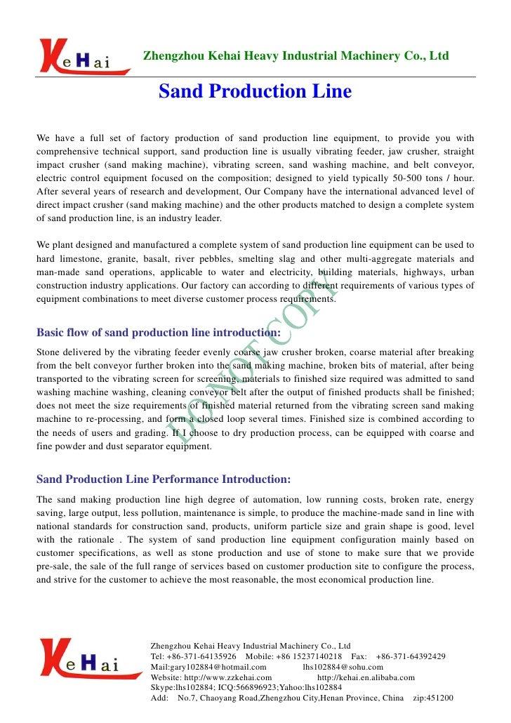 Zhengzhou Kehai Heavy Industrial Machinery Co., Ltd                                Sand Production Line  We have a full se...